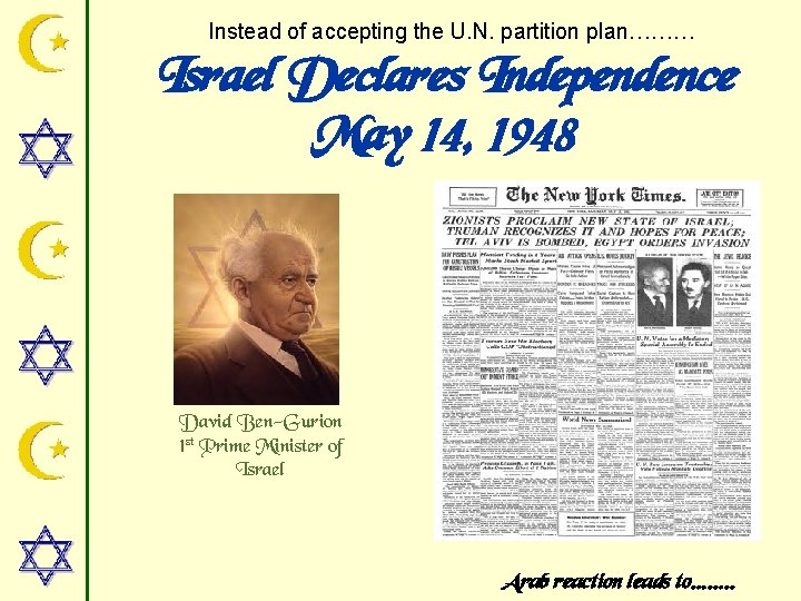 Instead of accepting the U. N. partition plan……… Israel Declares Independence May 14, 1948
