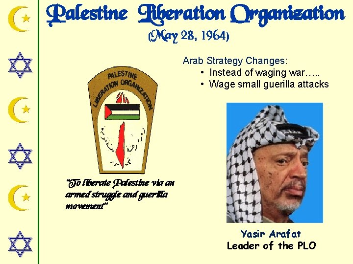 Palestine Liberation Organization (May 28, 1964) Arab Strategy Changes: • Instead of waging war….