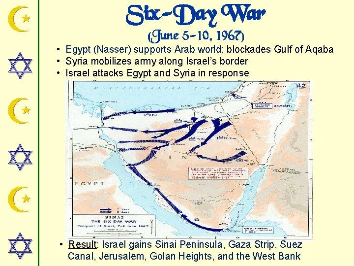 Six-Day War (June 5 -10, 1967) • Egypt (Nasser) supports Arab world; blockades Gulf