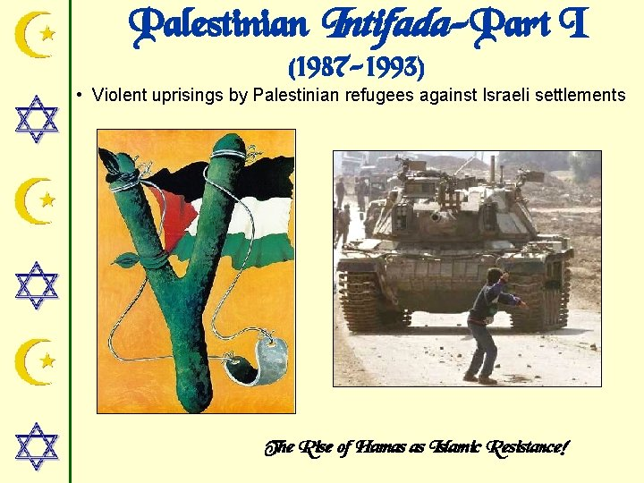 Palestinian Intifada-Part I (1987 -1993) • Violent uprisings by Palestinian refugees against Israeli settlements