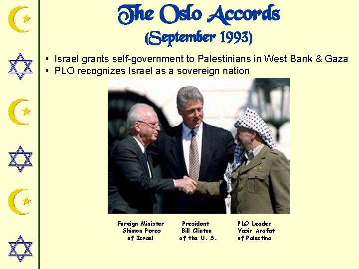 The Oslo Accords (September 1993) • Israel grants self-government to Palestinians in West Bank