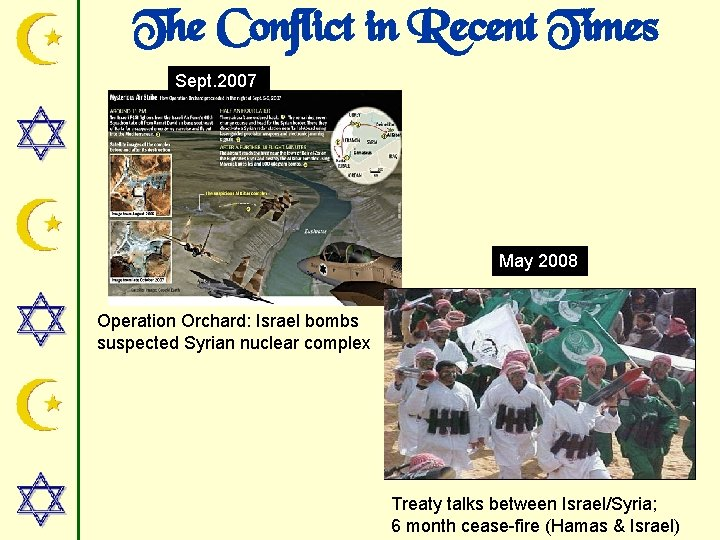 The Conflict in Recent Times Sept. 2007 May 2008 Operation Orchard: Israel bombs suspected