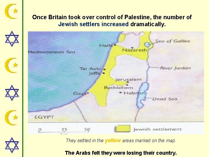 Once Britain took over control of Palestine, the number of Jewish settlers increased dramatically.