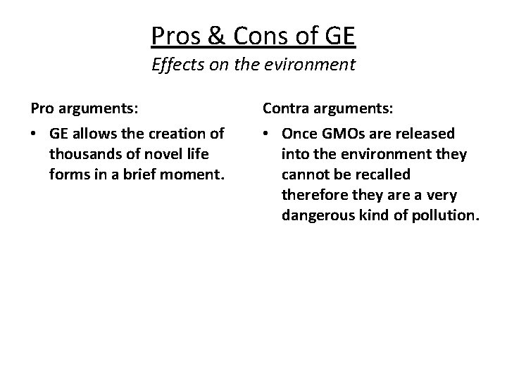 Pros & Cons of GE Effects on the evironment Pro arguments: Contra arguments: •