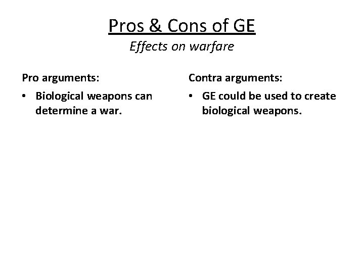 Pros & Cons of GE Effects on warfare Pro arguments: Contra arguments: • Biological