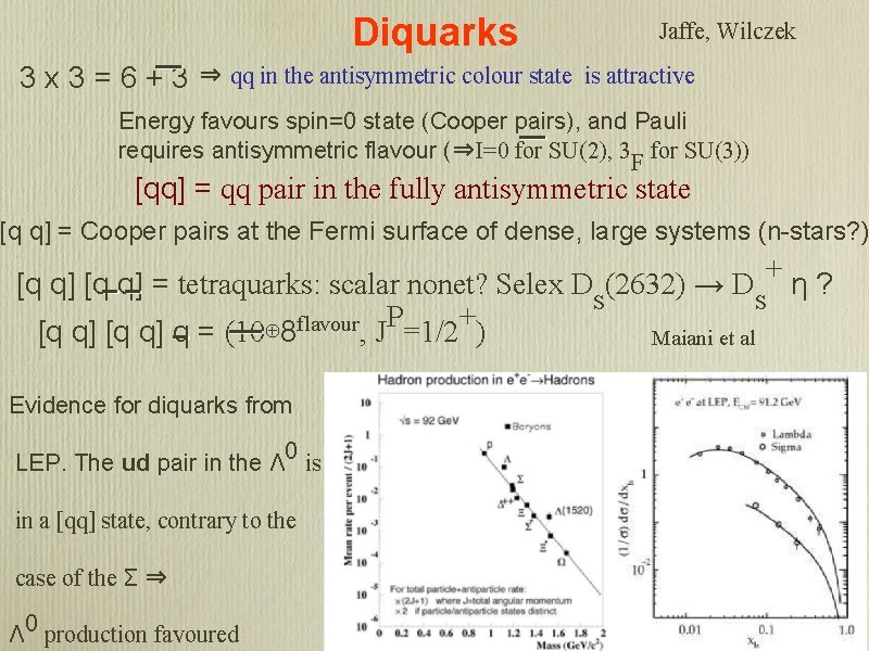 Diquarks 3 x 3=6+3 Jaffe, Wilczek ⇒ qq in the antisymmetric colour state is