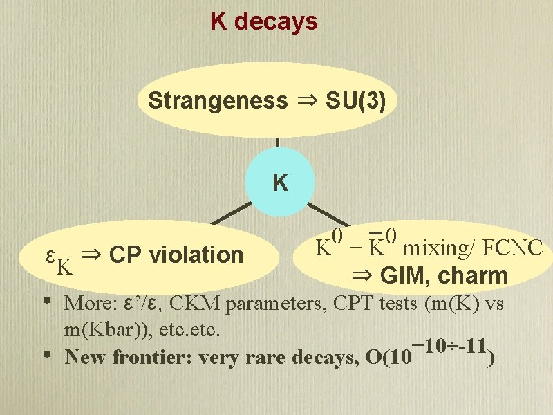 K decays Strangeness ⇒ SU(3) K εK ⇒ CP violation • • 0 0