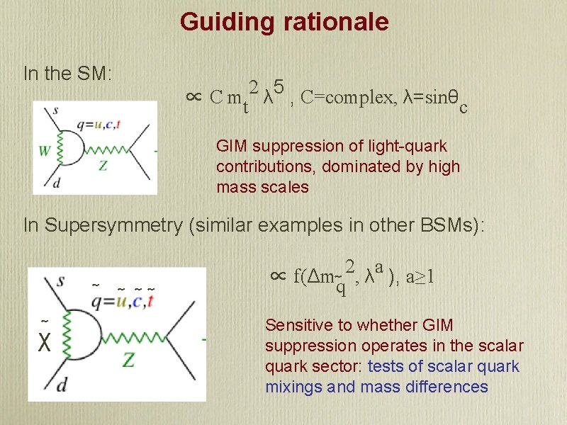 Guiding rationale In the SM: ∝ C mt 2 λ 5 , C=complex, λ=sinθc