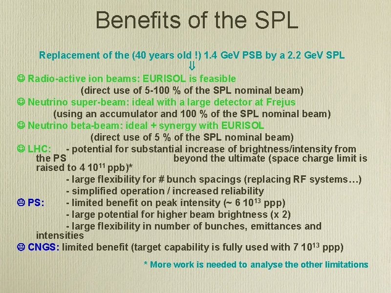 Benefits of the SPL Replacement of the (40 years old !) 1. 4 Ge.
