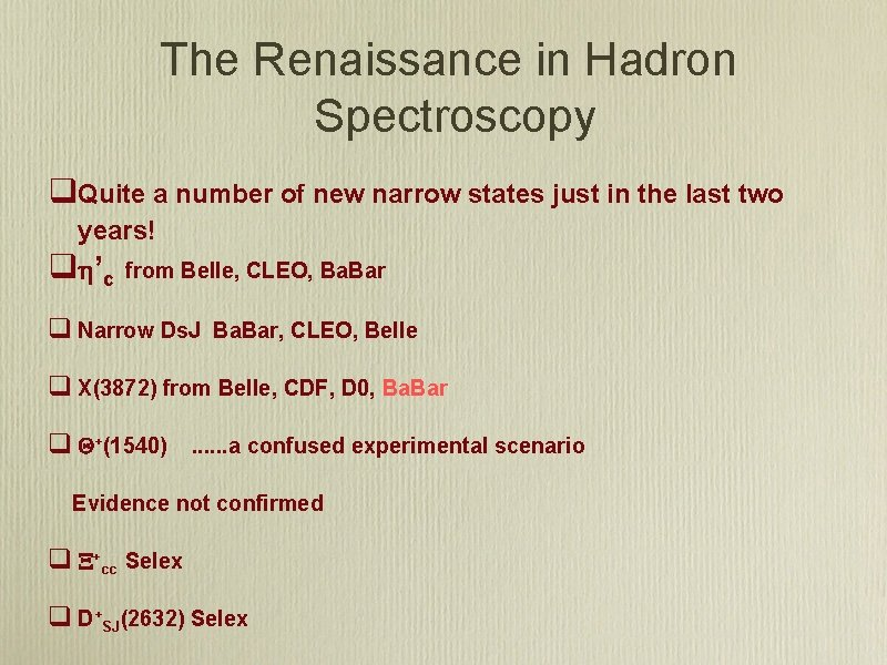 The Renaissance in Hadron Spectroscopy q. Quite a number of new narrow states just