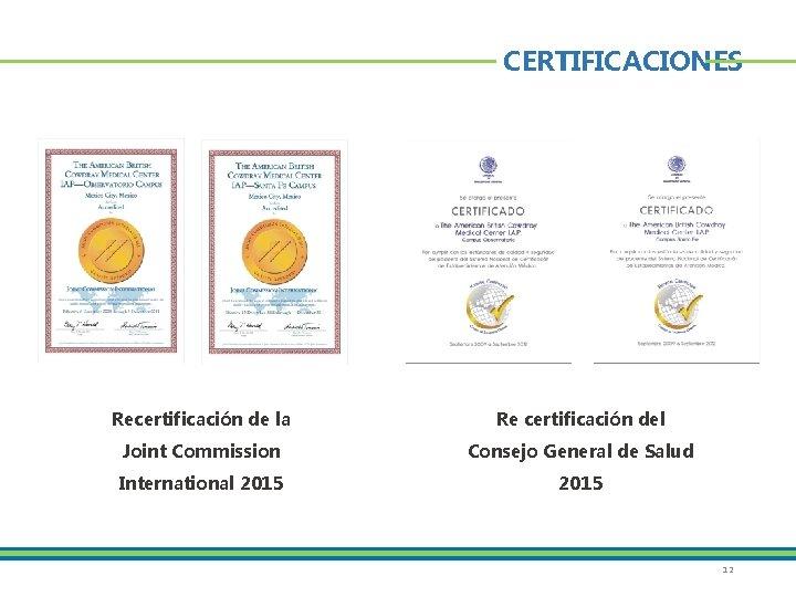 CERTIFICACIONES Recertificación de la Re certificación del Joint Commission Consejo General de Salud International