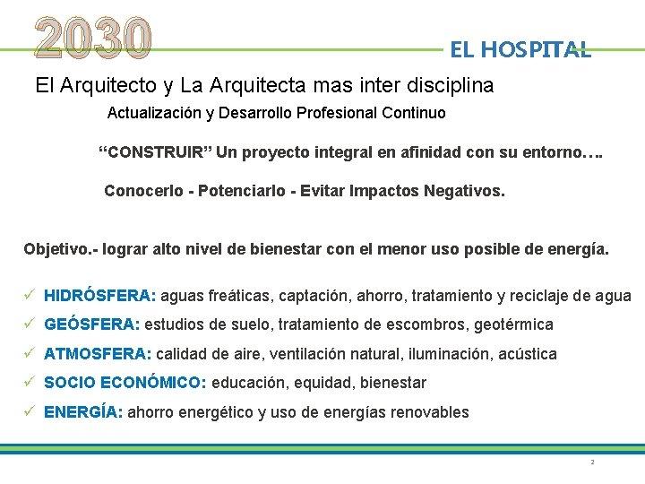 2030 EL HOSPITAL El Arquitecto y La Arquitecta mas inter disciplina Actualización y Desarrollo