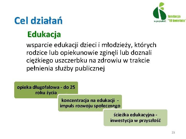 Cel działań Edukacja wsparcie edukacji dzieci i młodzieży, których rodzice lub opiekunowie zginęli lub