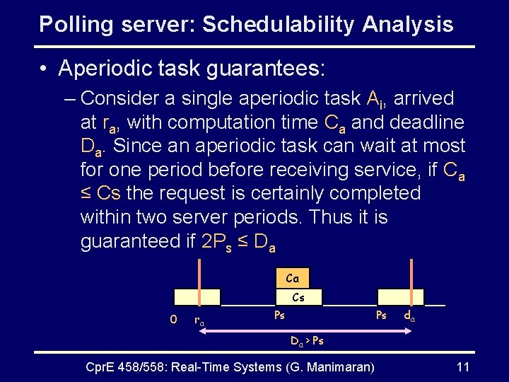 Polling server: Schedulability Analysis • Aperiodic task guarantees: – Consider a single aperiodic task