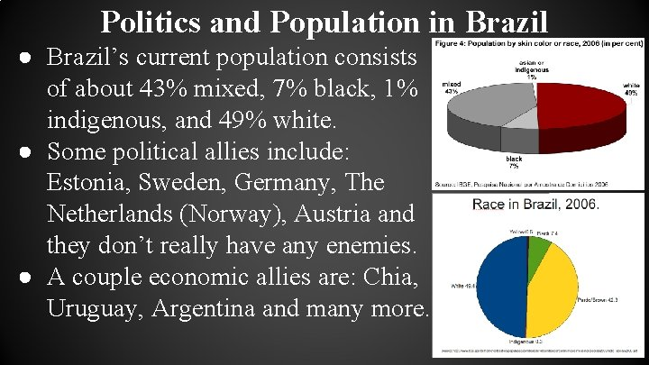 Politics and Population in Brazil ● Brazil's current population consists of about 43% mixed,