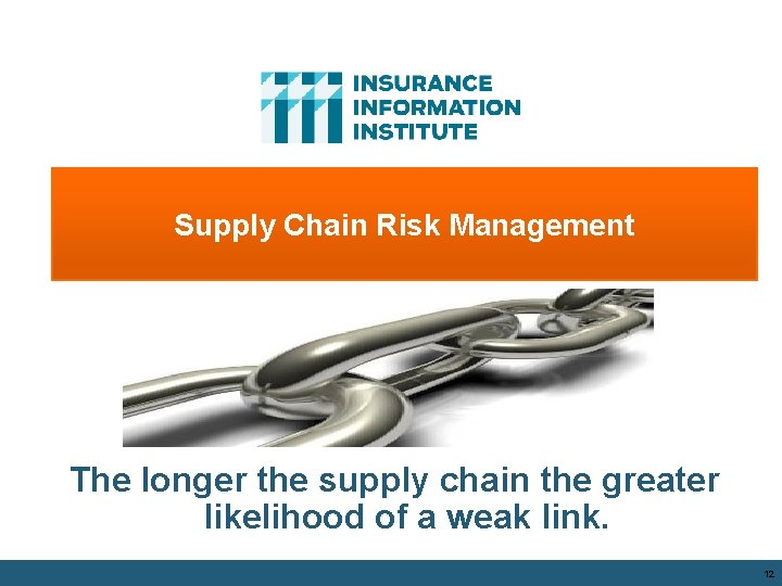 Supply Chain Risk Management The longer the supply chain the greater likelihood of a