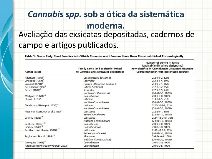 Cannabis spp. sob a ótica da sistemática moderna. Avaliação das exsicatas depositadas, cadernos de