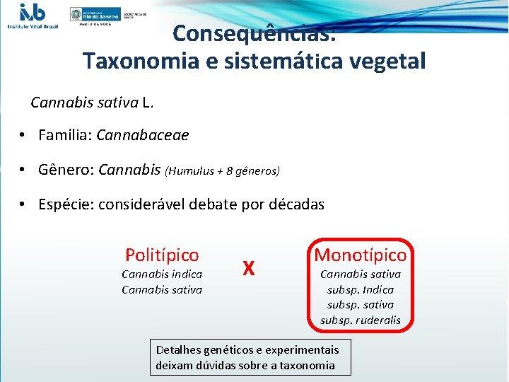Consequências: Taxonomia e sistemática vegetal Cannabis sativa L. • Família: Cannabaceae • Gênero: Cannabis