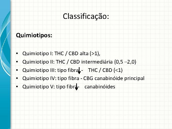 Classificação: Quimiotipos: • • • Quimiotipo I: THC / CBD alta (>1), Quimiotipo II: