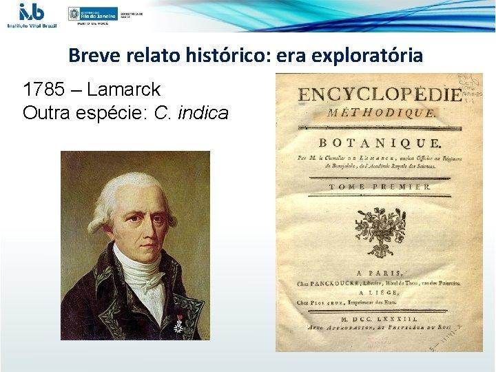 Breve relato histórico: era exploratória 1785 – Lamarck Outra espécie: C. indica