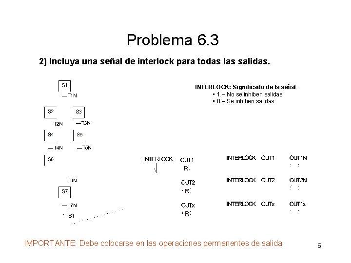 Problema 6. 3 2) Incluya una señal de interlock para todas las salidas. INTERLOCK:
