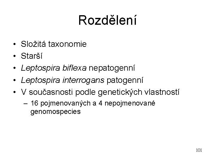 Rozdělení • • • Složitá taxonomie Starší Leptospira biflexa nepatogenní Leptospira interrogans patogenní V