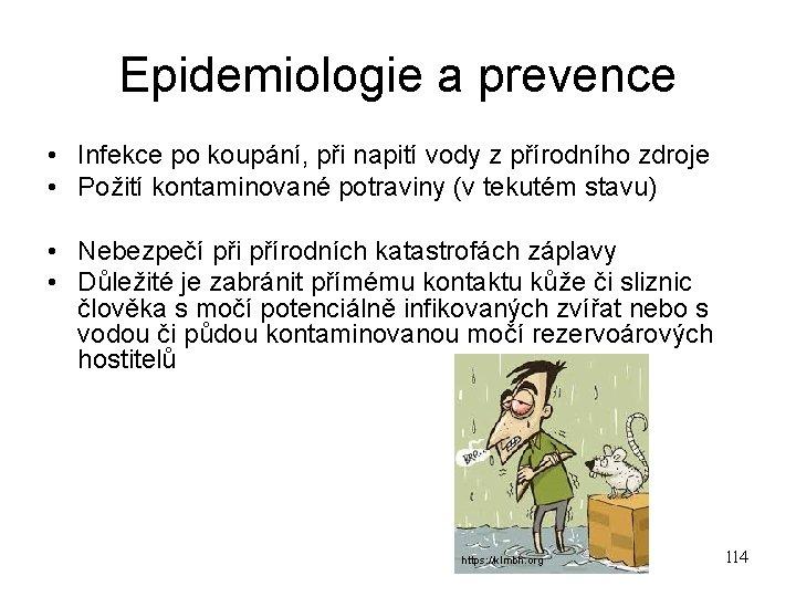 Epidemiologie a prevence • Infekce po koupání, při napití vody z přírodního zdroje •