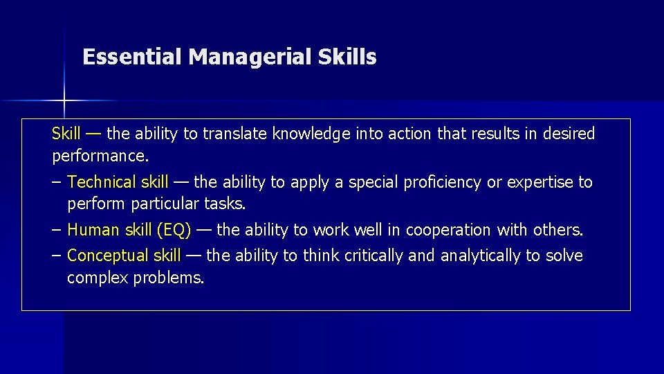 Essential Managerial Skills Skill — the ability to translate knowledge into action that results