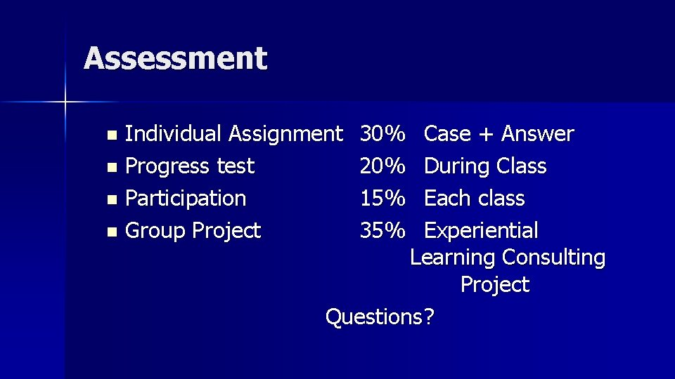 Assessment Individual Assignment n Progress test n Participation n Group Project n 30% 20%