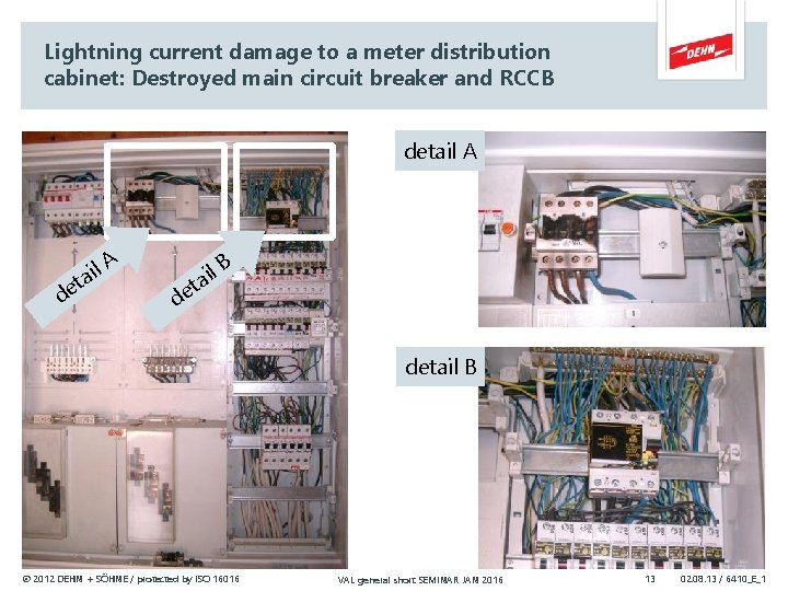 Lightning current damage to a meter distribution cabinet: Destroyed main circuit breaker and RCCB