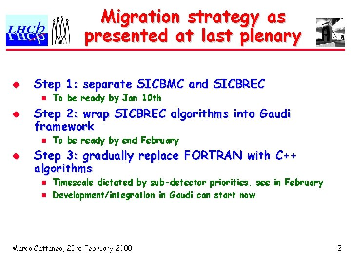Migration strategy as presented at last plenary u Step 1: separate SICBMC and SICBREC
