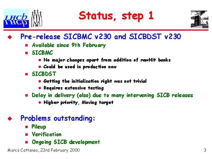 Status, step 1 u Pre-release SICBMC v 230 and SICBDST v 230 n n