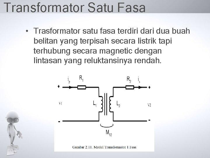 Transformator Satu Fasa • Trasformator satu fasa terdiri dari dua buah belitan yang terpisah