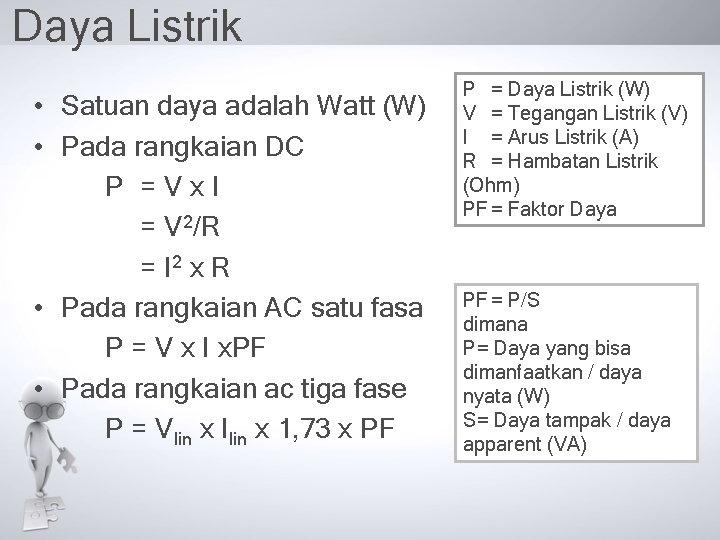 Daya Listrik • Satuan daya adalah Watt (W) • Pada rangkaian DC P =