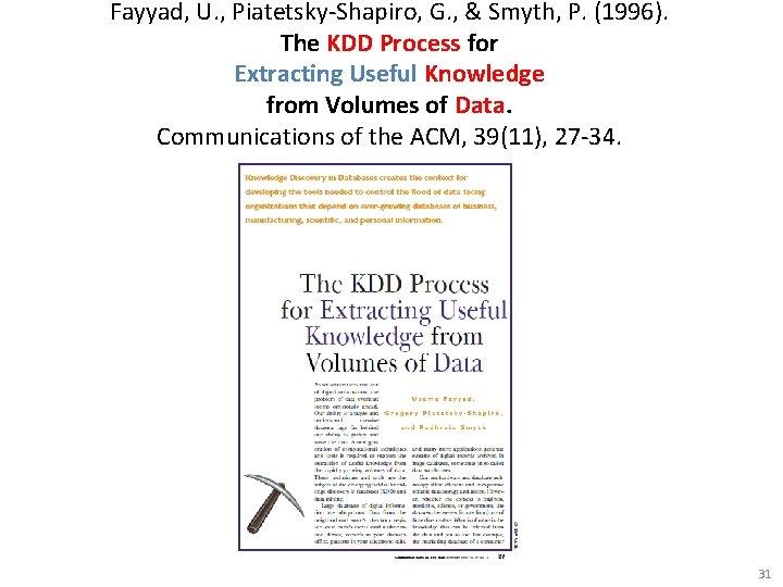 Fayyad, U. , Piatetsky-Shapiro, G. , & Smyth, P. (1996). The KDD Process for