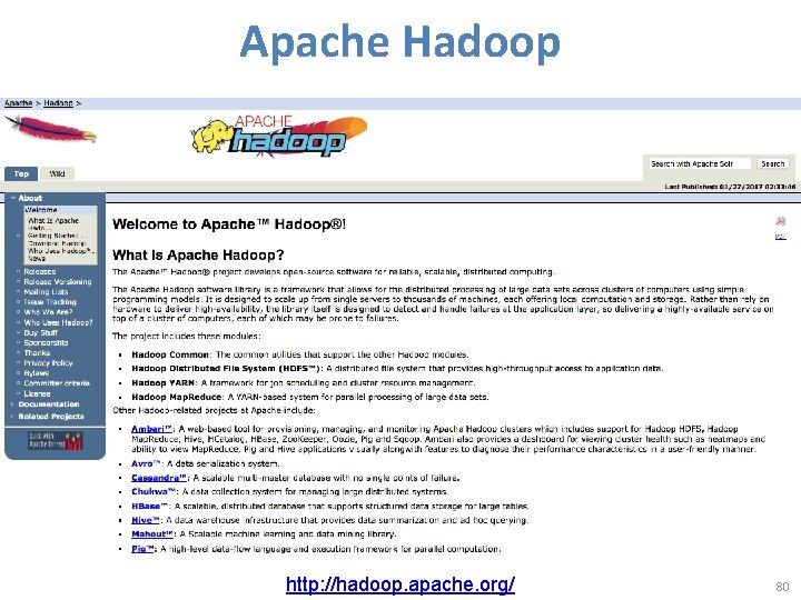 Apache Hadoop http: //hadoop. apache. org/ 80