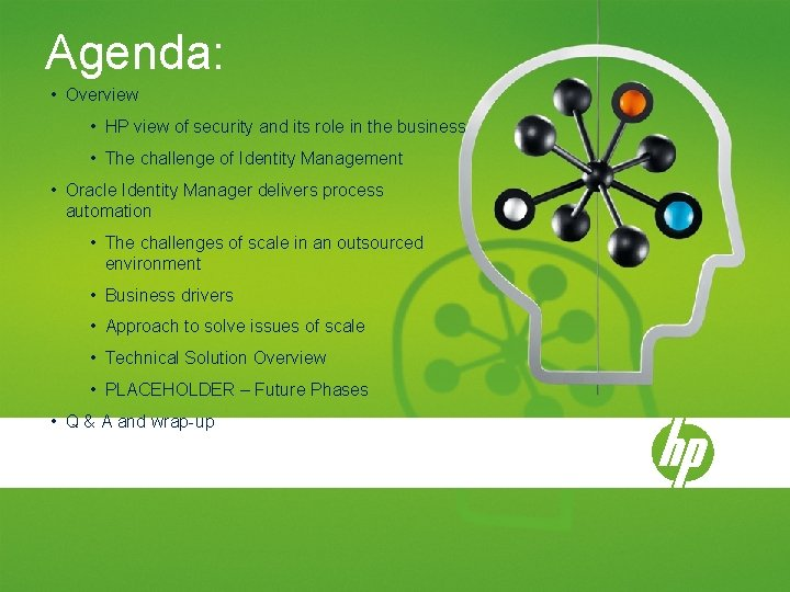 Agenda: • Overview • HP view of security and its role in the business