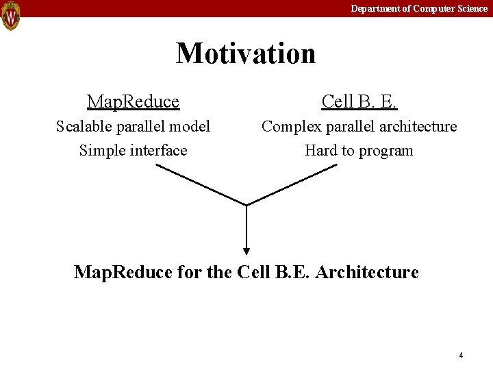 Department of Computer Science Motivation Map. Reduce Cell B. E. Scalable parallel model Simple