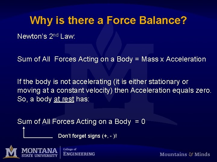 Why is there a Force Balance? Newton's 2 nd Law: Sum of All Forces
