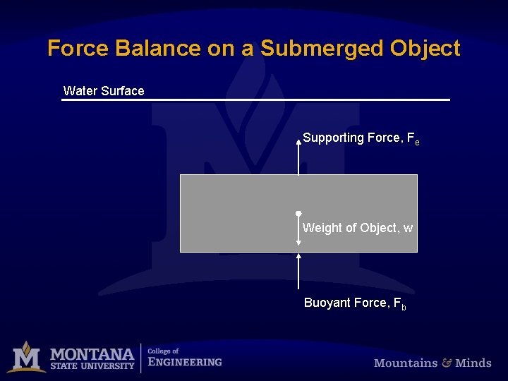 Force Balance on a Submerged Object Water Surface Supporting Force, Fe Weight of Object,