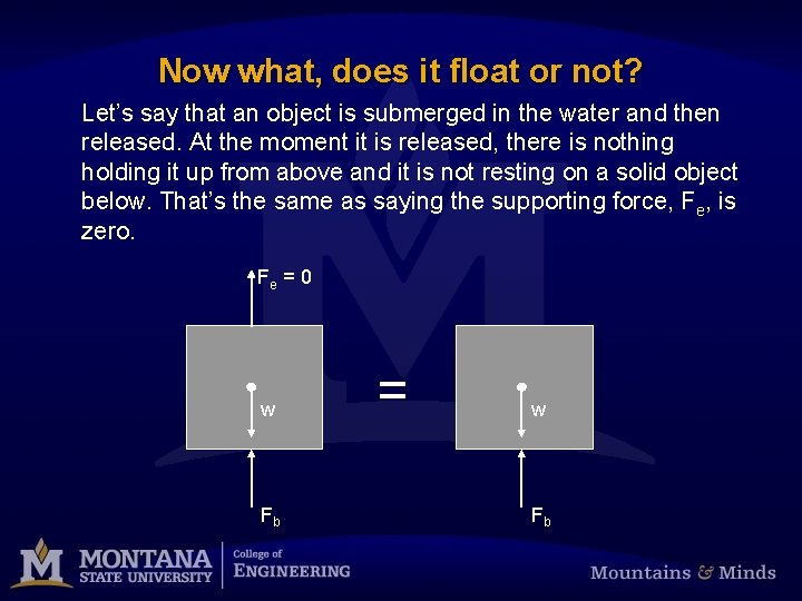 Now what, does it float or not? Let's say that an object is submerged