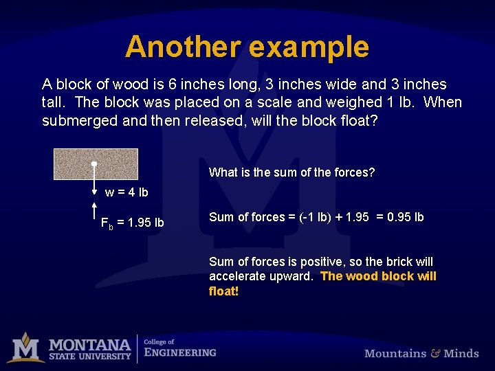Another example A block of wood is 6 inches long, 3 inches wide and