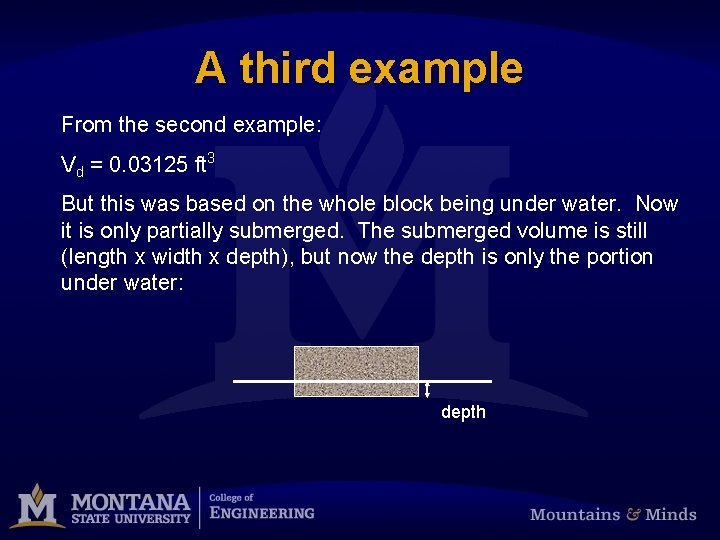 A third example From the second example: Vd = 0. 03125 ft 3 But