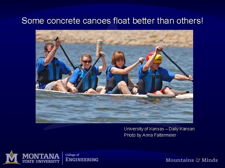 Some concrete canoes float better than others! University of Kansas – Daily Kansan Photo