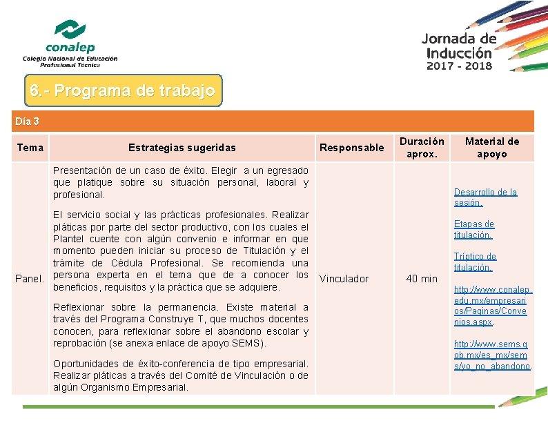 6. - Programa de trabajo Día 3 Tema Estrategias sugeridas Responsable Duración aprox. Presentación