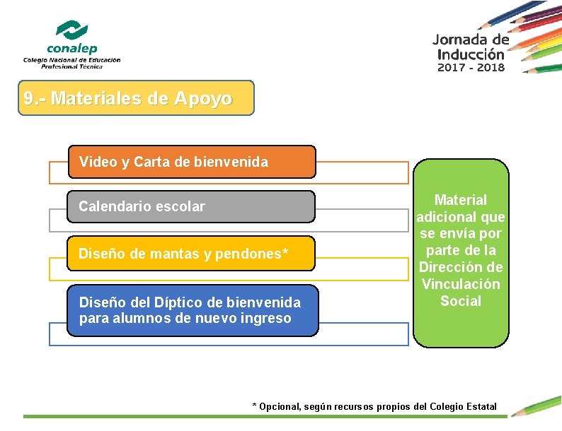 9. - Materiales de Apoyo Video y Carta de bienvenida Calendario escolar Diseño de