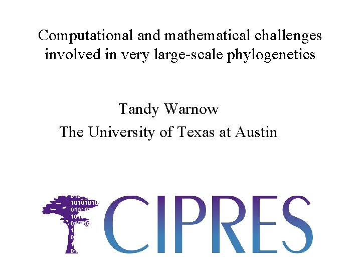 Computational and mathematical challenges involved in very large-scale phylogenetics Tandy Warnow The University of