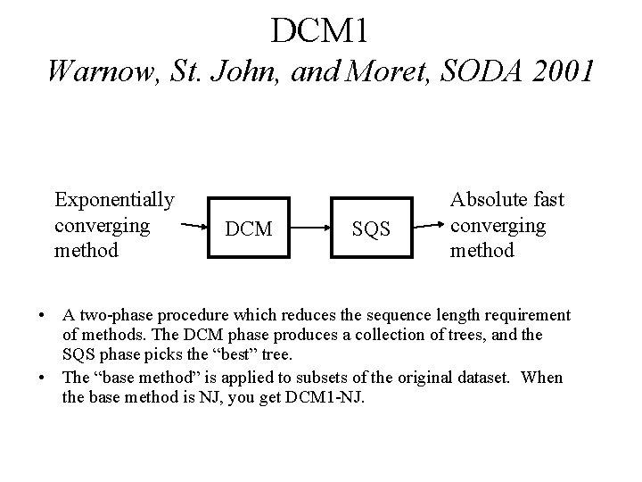 DCM 1 Warnow, St. John, and Moret, SODA 2001 Exponentially converging method DCM SQS