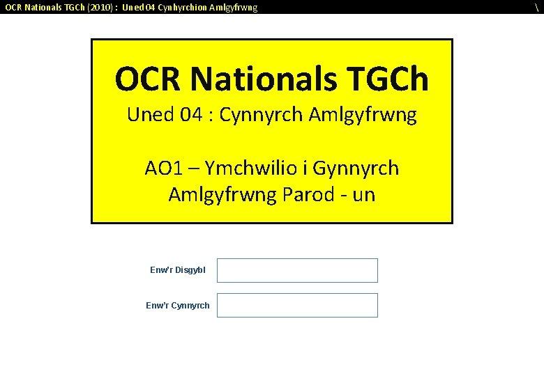 OCR Nationals TGCh (2010) : Uned 04 Cynhyrchion Amlgyfrwng OCR Nationals TGCh Uned 04