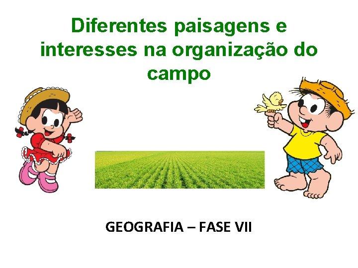 Diferentes paisagens e interesses na organização do campo GEOGRAFIA – FASE VII